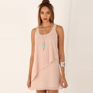 Blush Asymmetrical Ruffled Chiffon Mini Dress